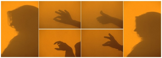 Collage with silhouette of the woman gesture