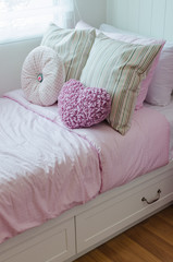 child bedroom with pink bed