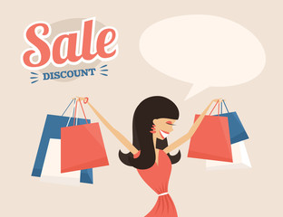Girl or woman on shopping sale hold bags
