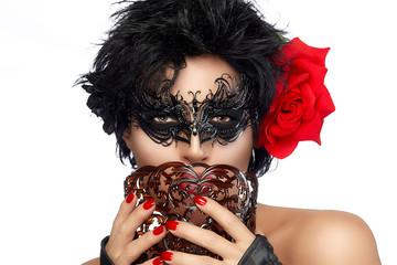 Masquerade. Pretty Short Hair Woman with Elegant Mask