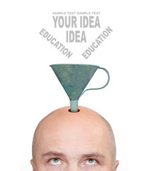 Hairless men's head with funnel. Education concept.