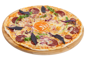 homemade pizza on white background