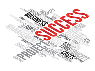 SUCCESS business concept in word tag cloud, vector background