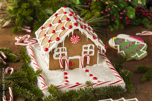 Foto op Canvas Snoepjes Homemade Candy Gingerbread House