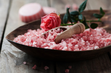 Spa concept with soap and pink salt