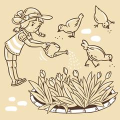 Girl watering the flowers