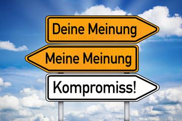 Wegweiser mit Meinung und Kompromuss