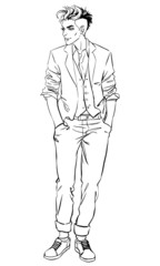 Full length portrait of handsome young man.Vector illustration