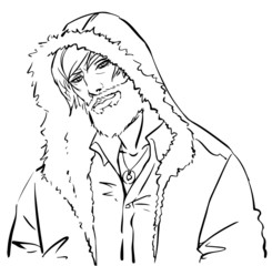 A handsome man in a hood