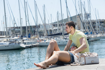 Couple resting on berth