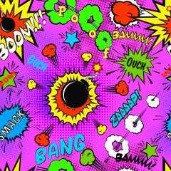Seamless pattern background with comic bubbles