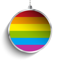 Gay Flag Merry Christmas Ball