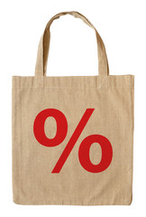 Cotton shopping bag with symbol percent