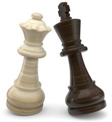 Schachfiguren aus Holz weiss gegen schwarz