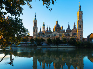 Basilica of Our Lady of the Pillar in morning. Zaragoza