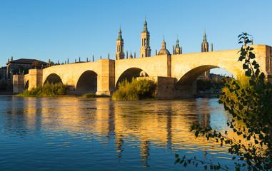 stone bridge in sunny morning. Zaragoza