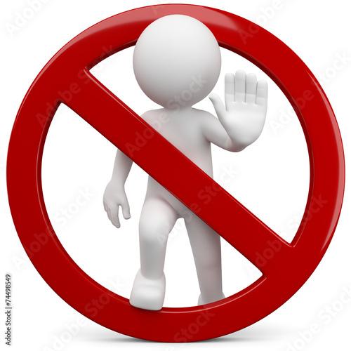 Leinwanddruck Bild stop halt verboten