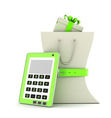 package with a gift and a calculator
