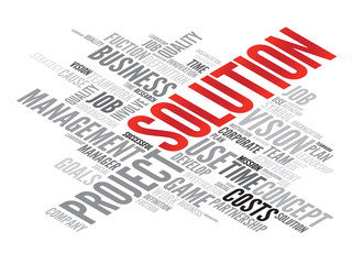 SOLUTION business concept in word tag cloud, vector background