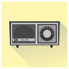 Vintage radio vector. Grey color.
