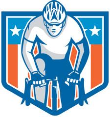 American Cyclist Riding Bicycle Cycling Shield Retro