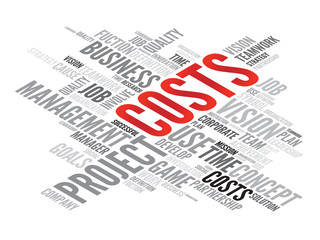 COSTS business concept in word tag cloud, vector background