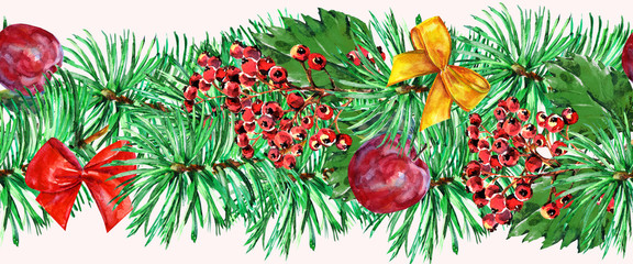 New Year garland, watercolor