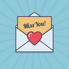 Miss You! letter with heart shape in flat style.