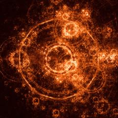 Orange Fractal Circle With Sparks