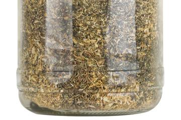 glass jar with herbs