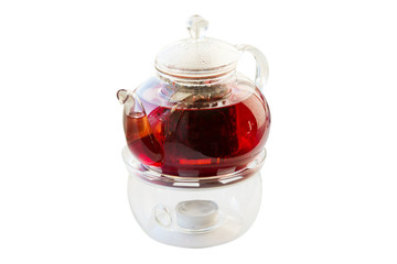 Glass teapot with tea on white background