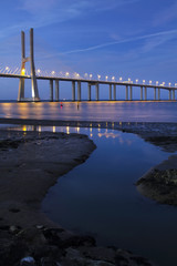 beautiful Vasco da Gama bridge at dawn