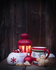 Christmas lantern, mulled wine and decorations