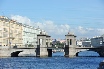 Lomonosov bridge across the Fontanka river in Saint Petersburg,