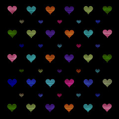 Colorful hearts pattern background