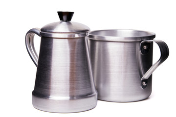 aluminum traditional tea cup and pot