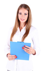 Business woman holding folder, isolated on white