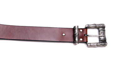 Close up view of a man's belt isolated on a white background.