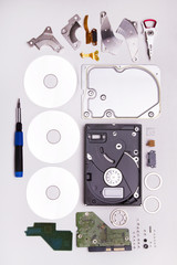 computer disassembled  hard drive