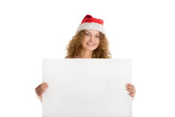 Christmas postcard santa girl holding paper for greeting
