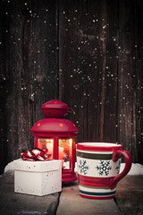 Christmas lantern, mulled wine, gingerbread and decorations on v