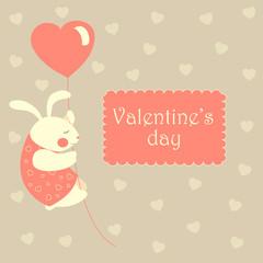 Valentine rabbit flying on heart shaped baloon