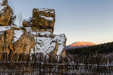Rocks in the winter in the mountains of the Urals