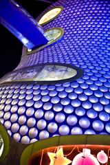 Selfidges at night with Christmas neon light display, Birmingham