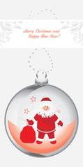 Christmas ball with Santa Claus. Greeting card