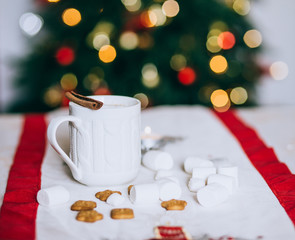 Hot cocoa with cinnamon stick, marshmallows and cookies