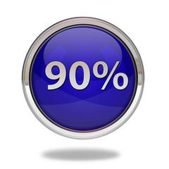 Ninety percent pointer icon on white background