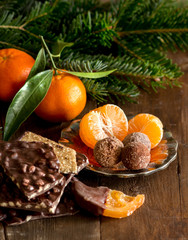 Chocolate, truffles and tangerins