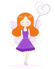 Cute purple fairy girl vector