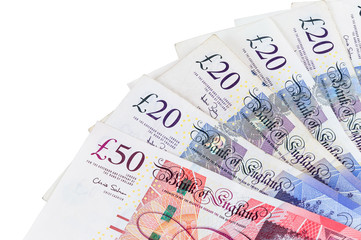 Closeup of english pounds banknotes